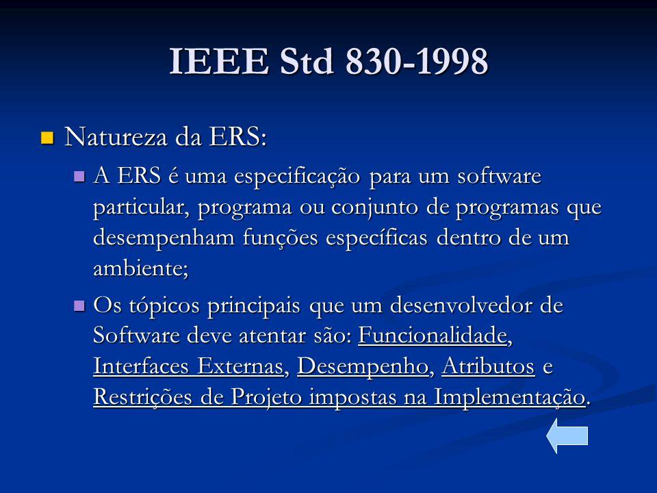 IEEE Std 830-1998 Natureza da ERS: