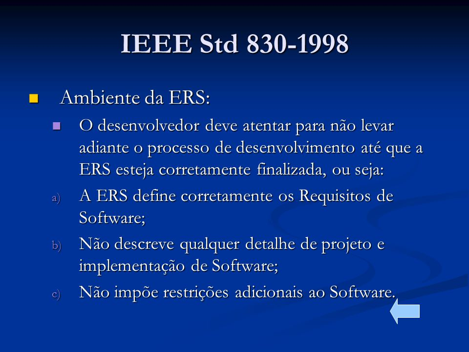 IEEE Std 830-1998 Ambiente da ERS: