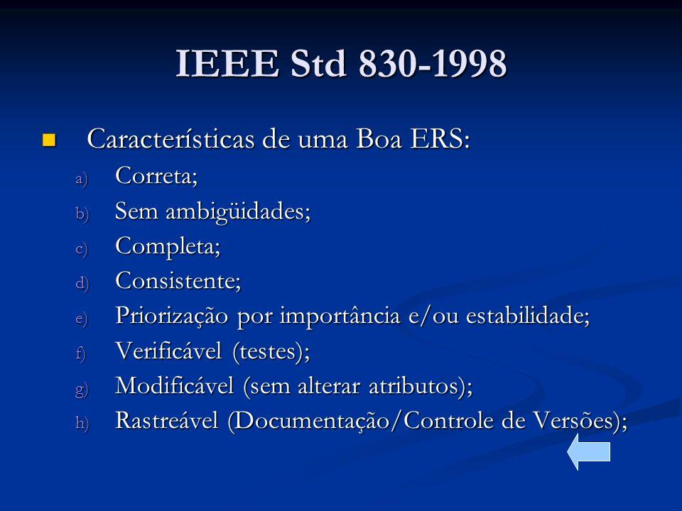 IEEE Std 830-1998 Características de uma Boa ERS: Correta;
