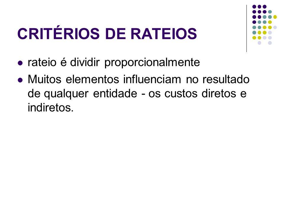 CRITÉRIOS DE RATEIOS rateio é dividir proporcionalmente