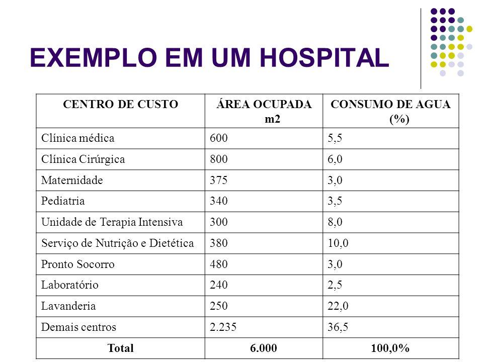 EXEMPLO EM UM HOSPITAL CENTRO DE CUSTO ÁREA OCUPADA m2