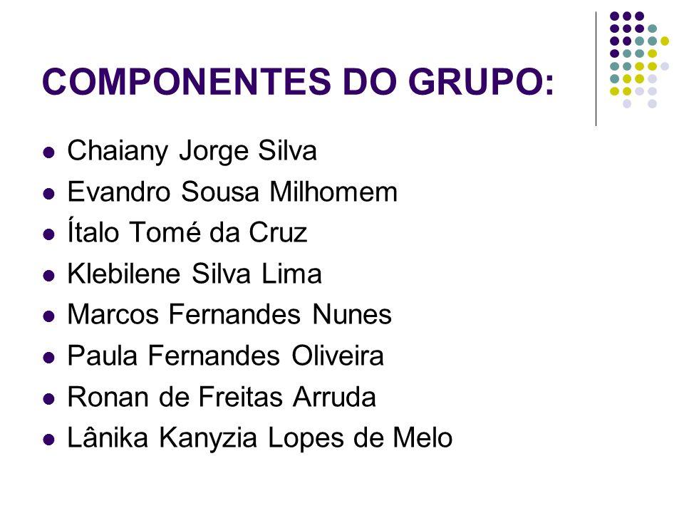 COMPONENTES DO GRUPO: Chaiany Jorge Silva Evandro Sousa Milhomem