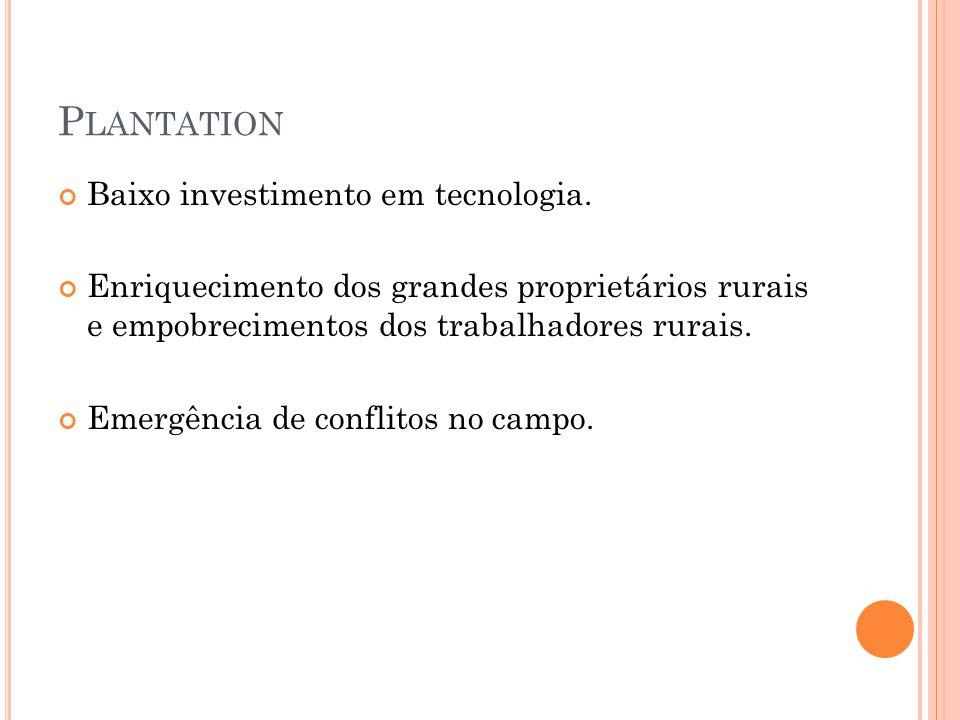 Plantation Baixo investimento em tecnologia.