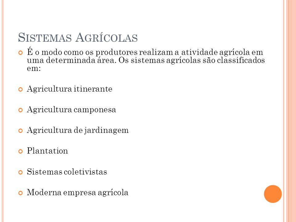 Sistemas Agrícolas É o modo como os produtores realizam a atividade agrícola em uma determinada área. Os sistemas agrícolas são classificados em: