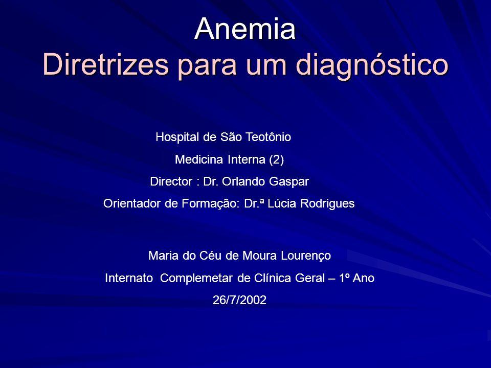 Anemia Diretrizes para um diagnóstico