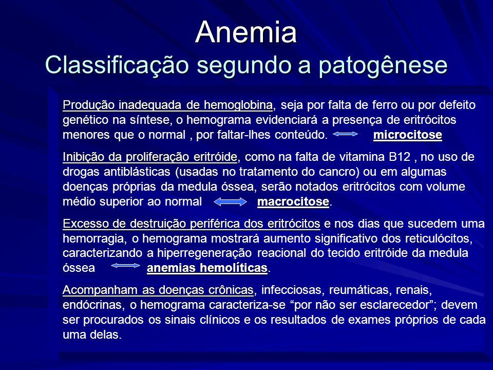 Anemia Classificação segundo a patogênese