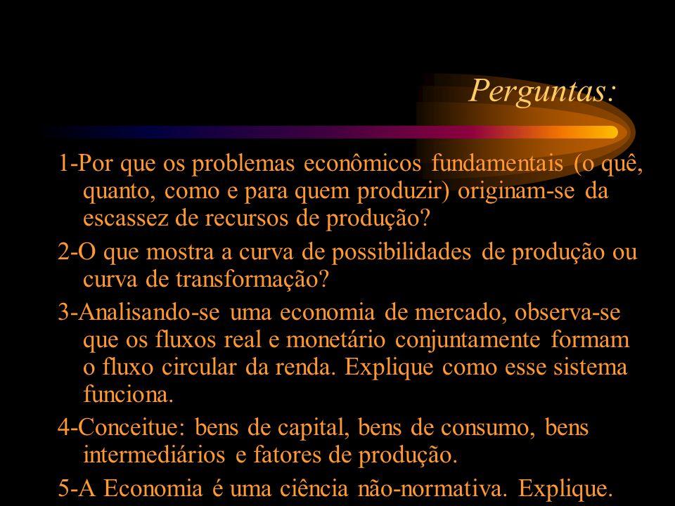 Perguntas: 1-Por que os problemas econômicos fundamentais (o quê, quanto, como e para quem produzir) originam-se da escassez de recursos de produção