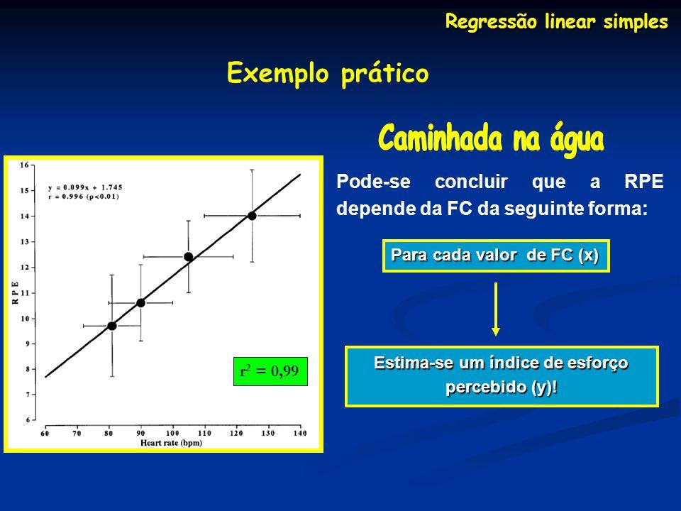Regressão linear simples Estima-se um índice de esforço percebido (y)!