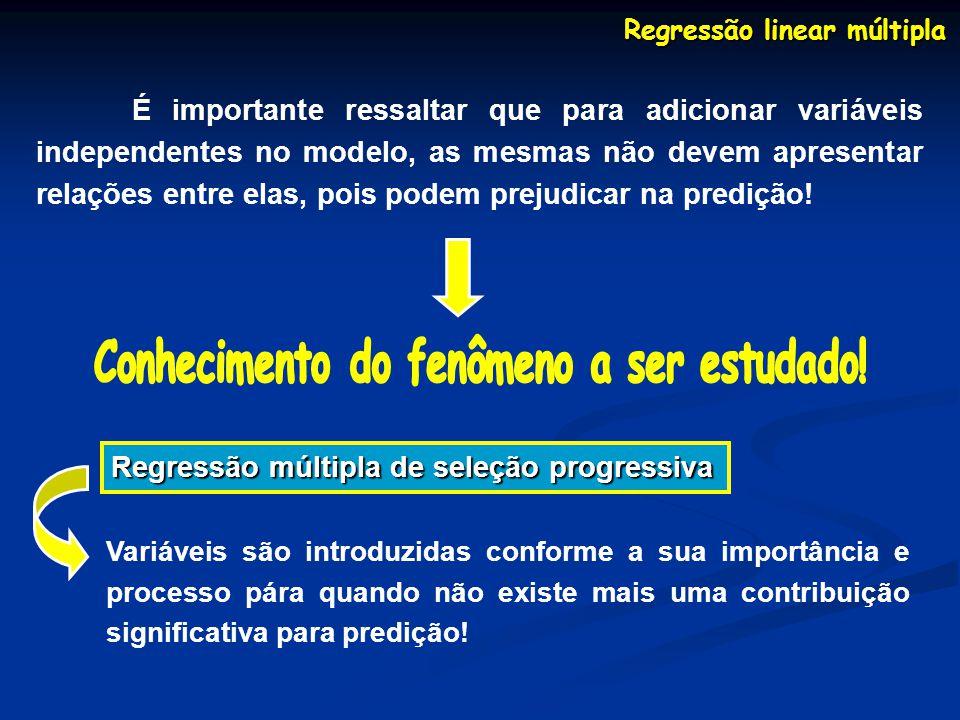 Regressão linear múltipla Conhecimento do fenômeno a ser estudado!