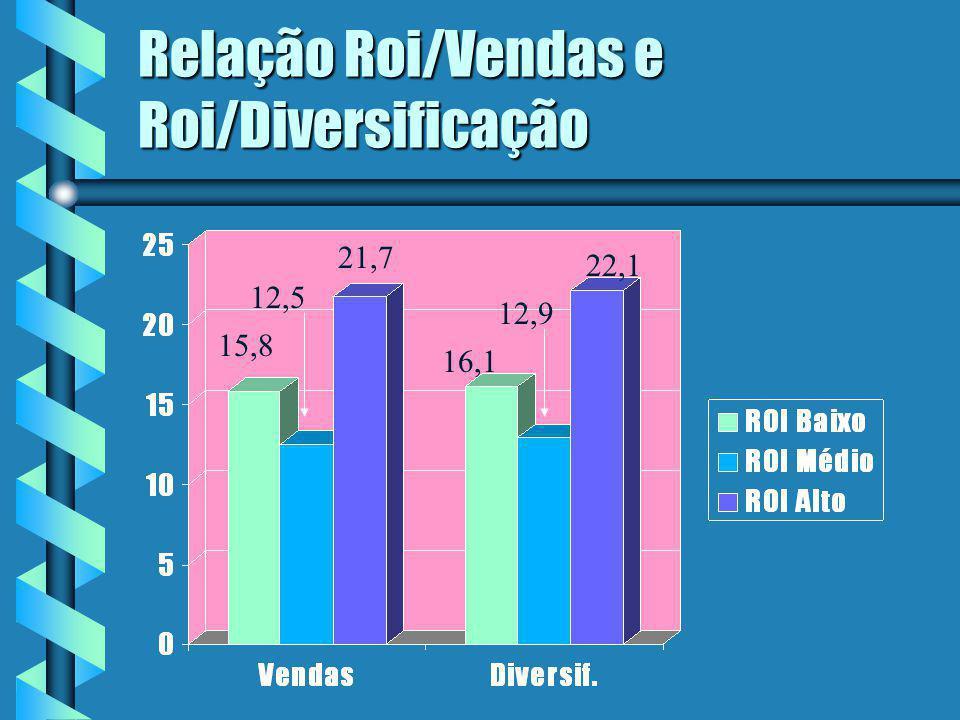 Relação Roi/Vendas e Roi/Diversificação