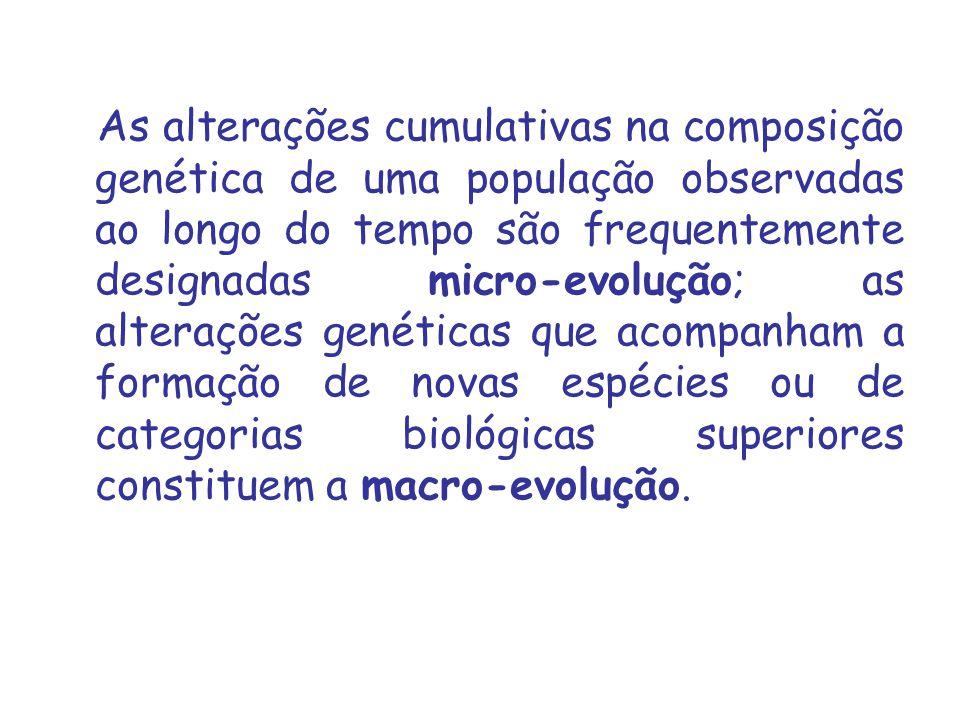 As alterações cumulativas na composição genética de uma população observadas ao longo do tempo são frequentemente designadas micro‑evolução; as alterações genéticas que acompanham a formação de novas espécies ou de categorias biológicas superiores constituem a macro‑evolução.