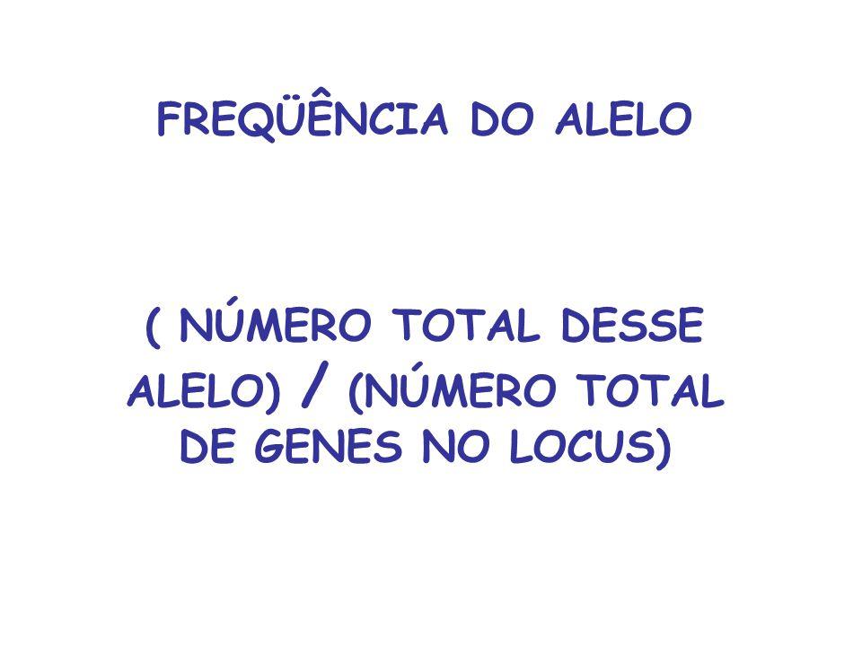 ( NÚMERO TOTAL DESSE ALELO) / (NÚMERO TOTAL DE GENES NO LOCUS)