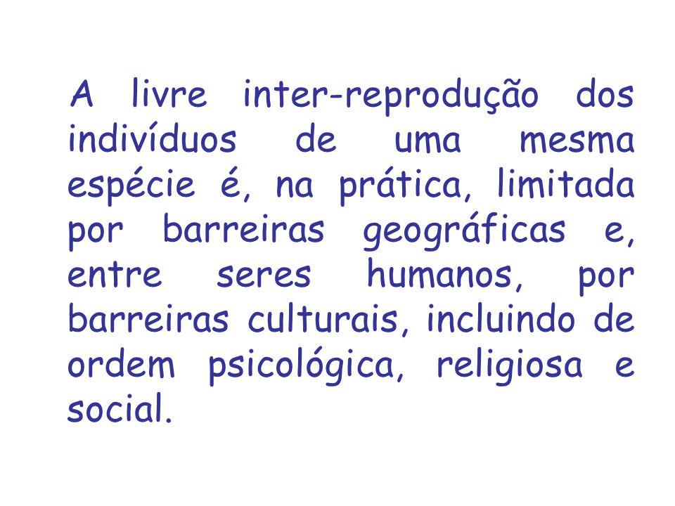 A livre inter‑reprodução dos indivíduos de uma mesma espécie é, na prática, limitada por barreiras geográficas e, entre seres humanos, por barreiras culturais, incluindo de ordem psicológica, religiosa e social.