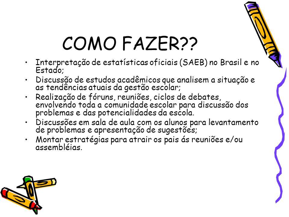 COMO FAZER Interpretação de estatísticas oficiais (SAEB) no Brasil e no Estado;