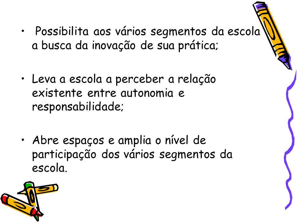 Possibilita aos vários segmentos da escola a busca da inovação de sua prática;