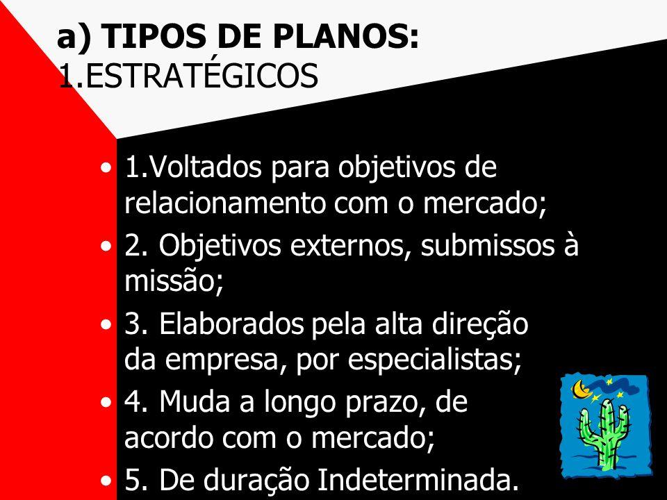 a) TIPOS DE PLANOS: 1.ESTRATÉGICOS