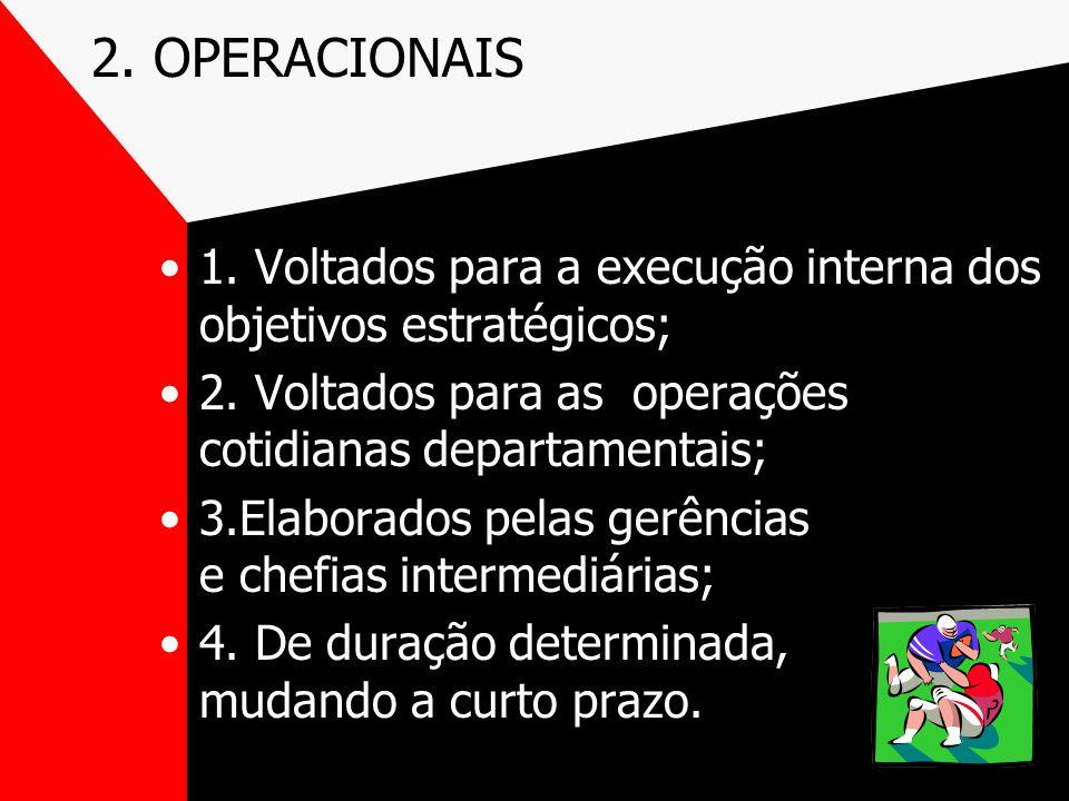 2. OPERACIONAIS 1. Voltados para a execução interna dos objetivos estratégicos; 2. Voltados para as operações cotidianas departamentais;