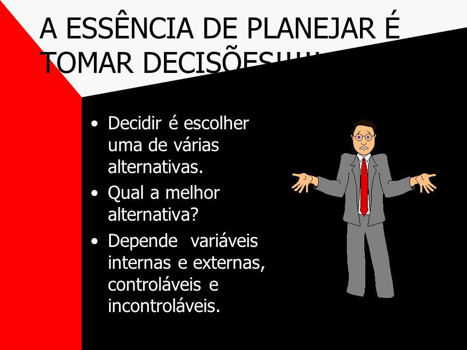 A ESSÊNCIA DE PLANEJAR É TOMAR DECISÕES!!!!!