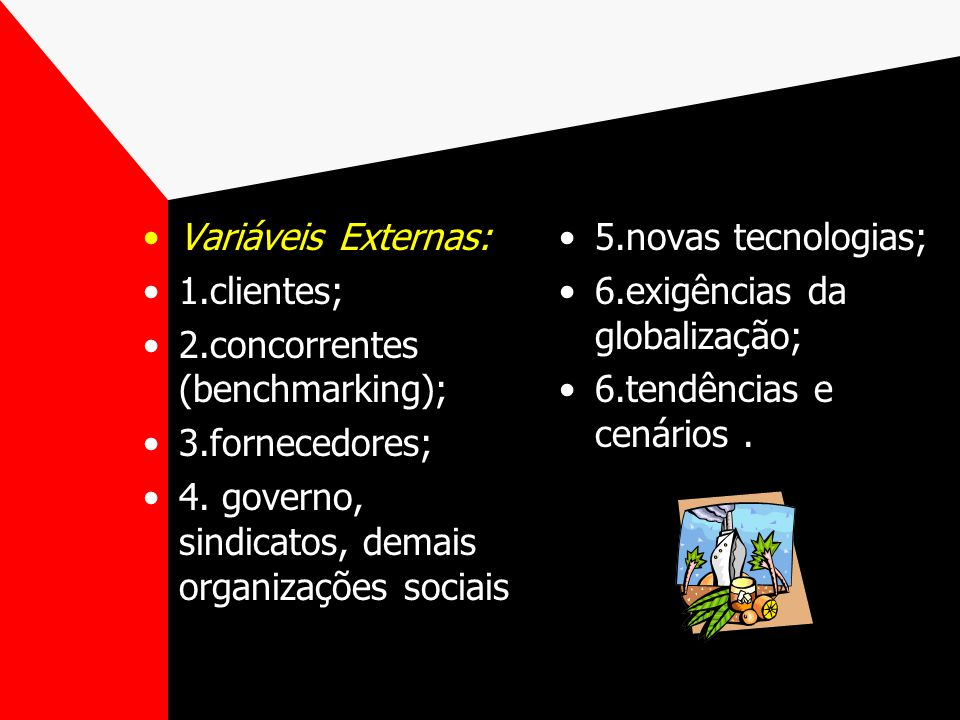 Variáveis Externas: 1.clientes; 2.concorrentes (benchmarking); 3.fornecedores; 4. governo, sindicatos, demais organizações sociais.