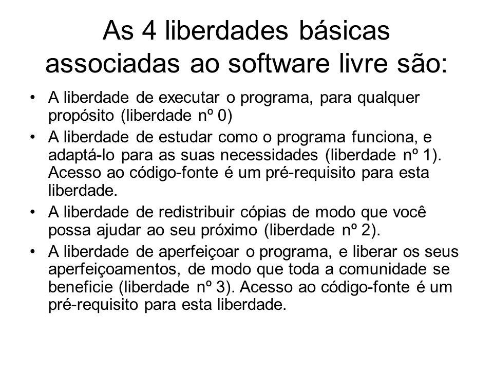 As 4 liberdades básicas associadas ao software livre são: