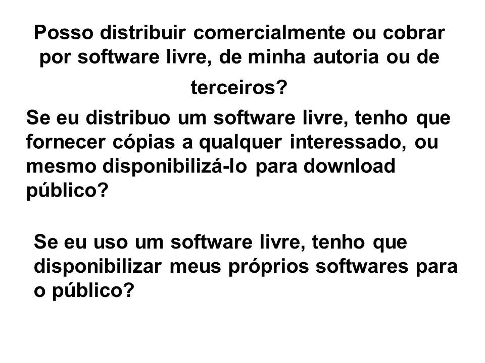 Posso distribuir comercialmente ou cobrar por software livre, de minha autoria ou de terceiros