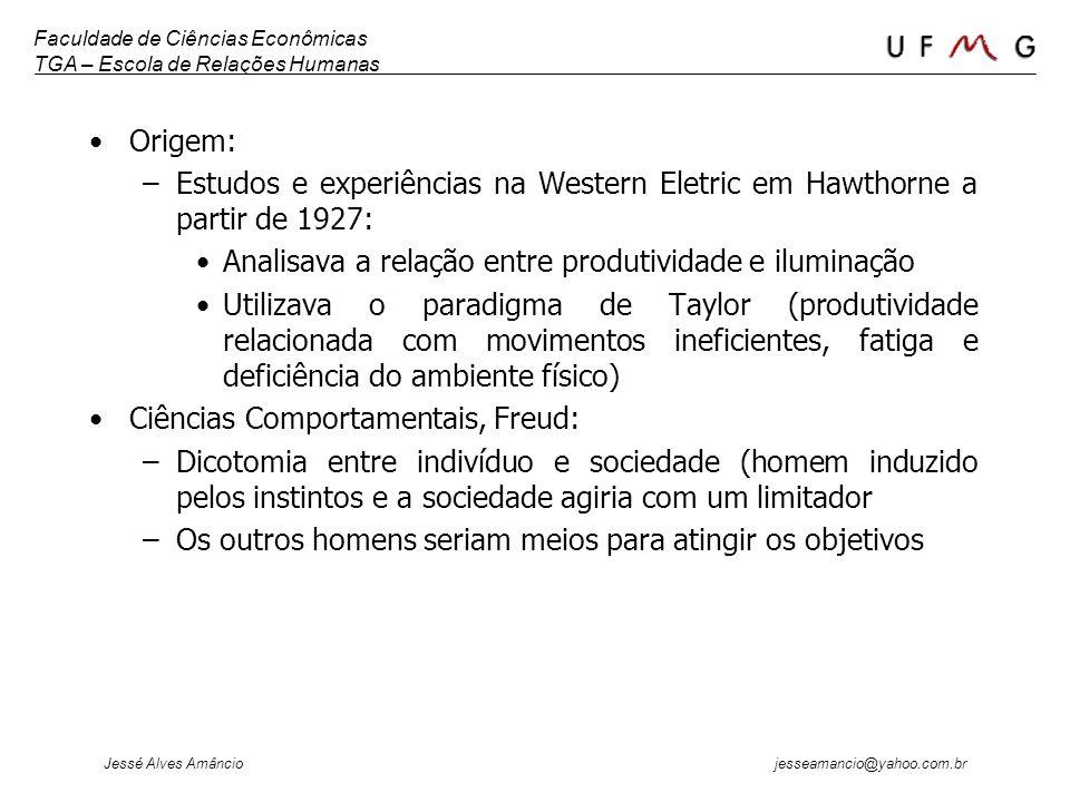 Origem: Estudos e experiências na Western Eletric em Hawthorne a partir de 1927: Analisava a relação entre produtividade e iluminação.