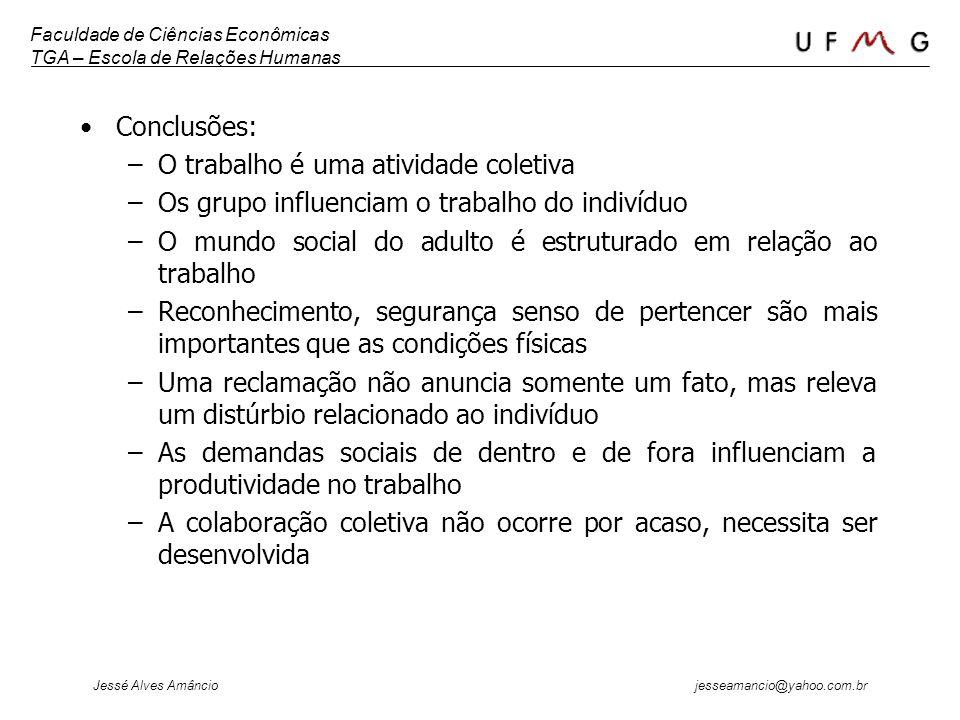 Conclusões: O trabalho é uma atividade coletiva. Os grupo influenciam o trabalho do indivíduo.