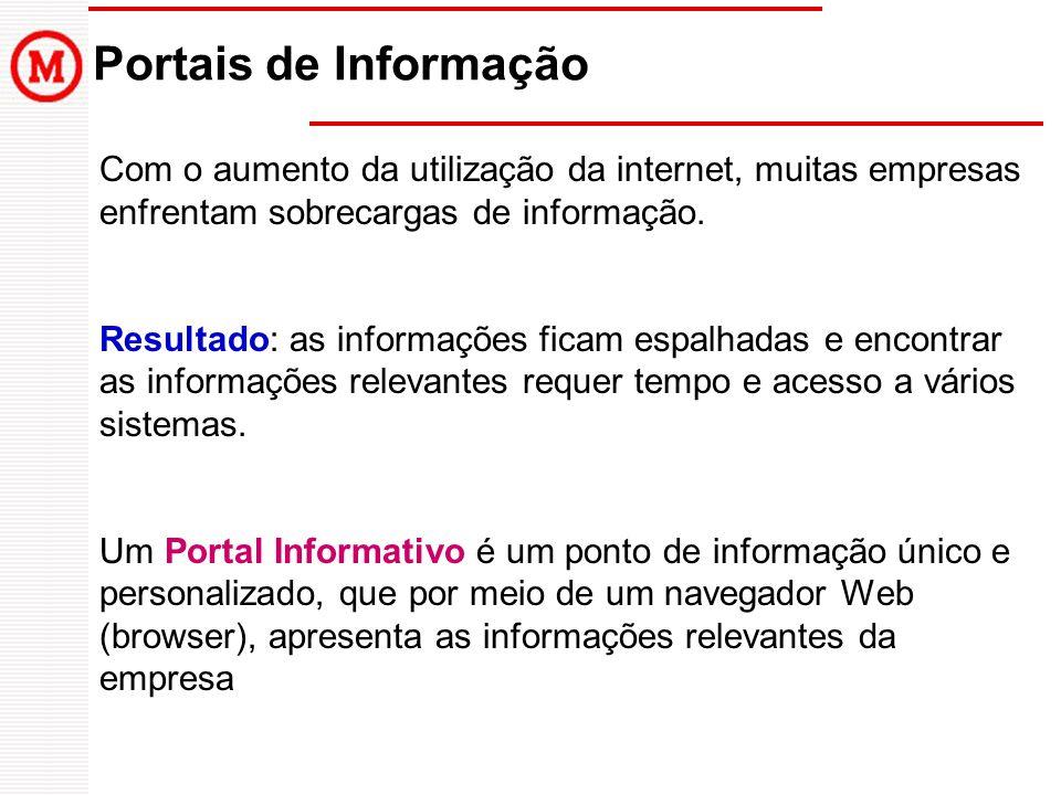 Portais de Informação Com o aumento da utilização da internet, muitas empresas enfrentam sobrecargas de informação.