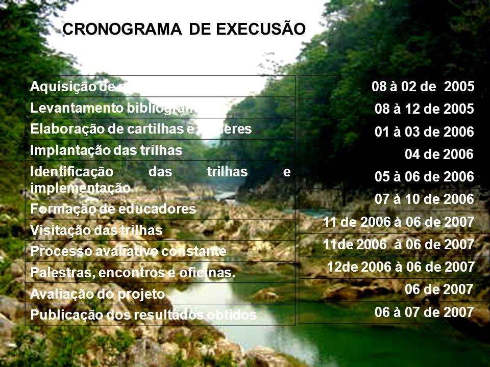 CRONOGRAMA DE EXECUSÃO