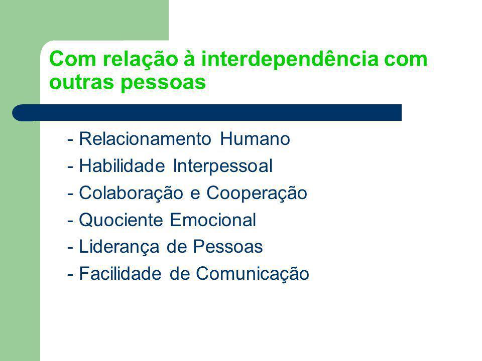 Com relação à interdependência com outras pessoas