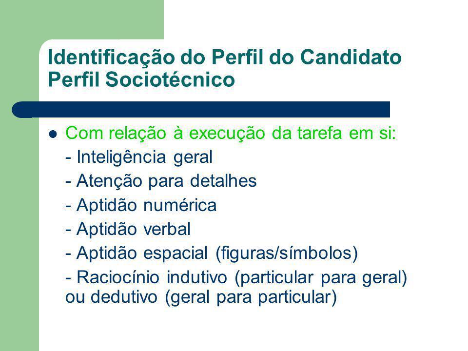 Identificação do Perfil do Candidato Perfil Sociotécnico