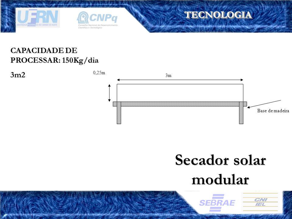 Secador solar modular TECNOLOGIA CAPACIDADE DE PROCESSAR: 150Kg/dia