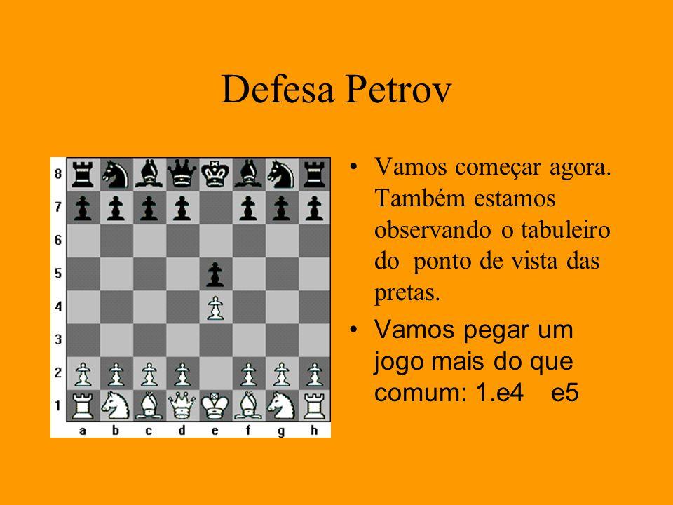 Defesa Petrov Vamos começar agora. Também estamos observando o tabuleiro do ponto de vista das pretas.