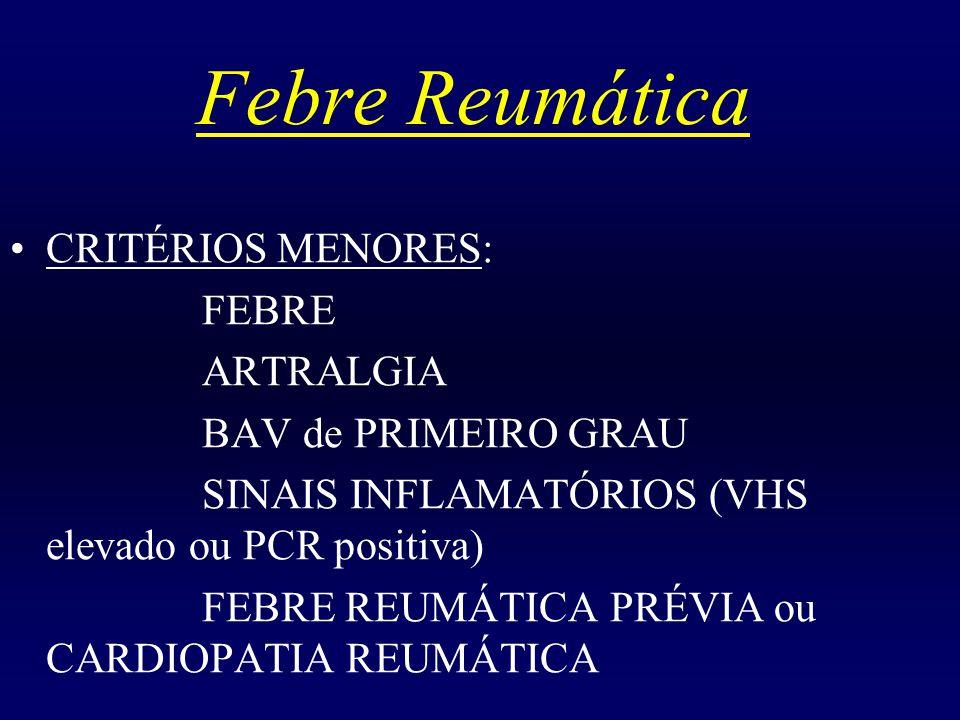Febre Reumática CRITÉRIOS MENORES: FEBRE ARTRALGIA