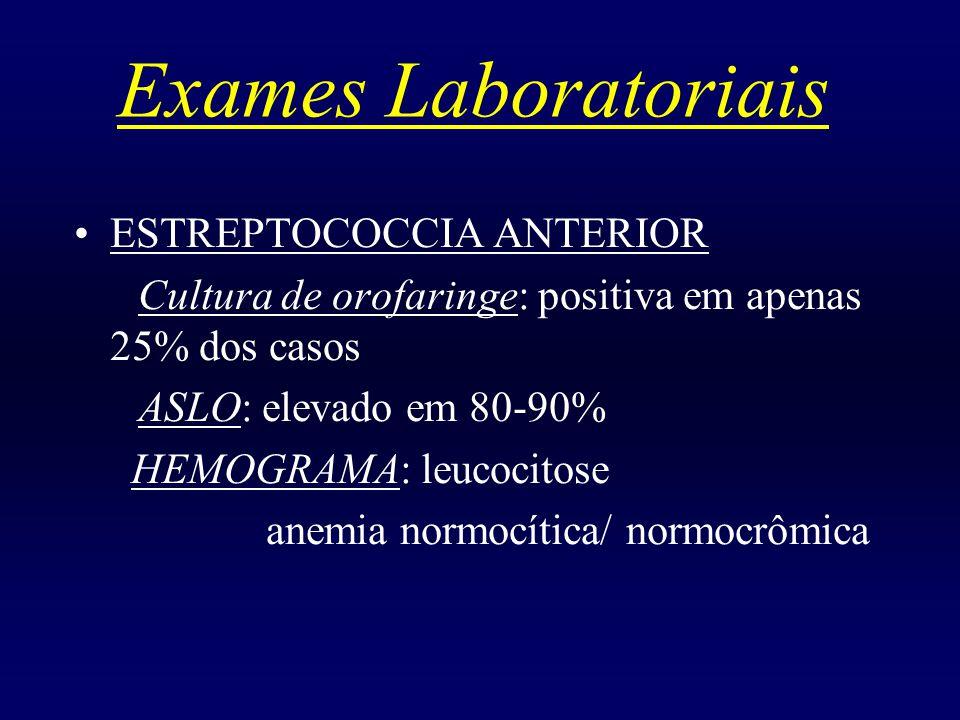 Exames Laboratoriais ESTREPTOCOCCIA ANTERIOR
