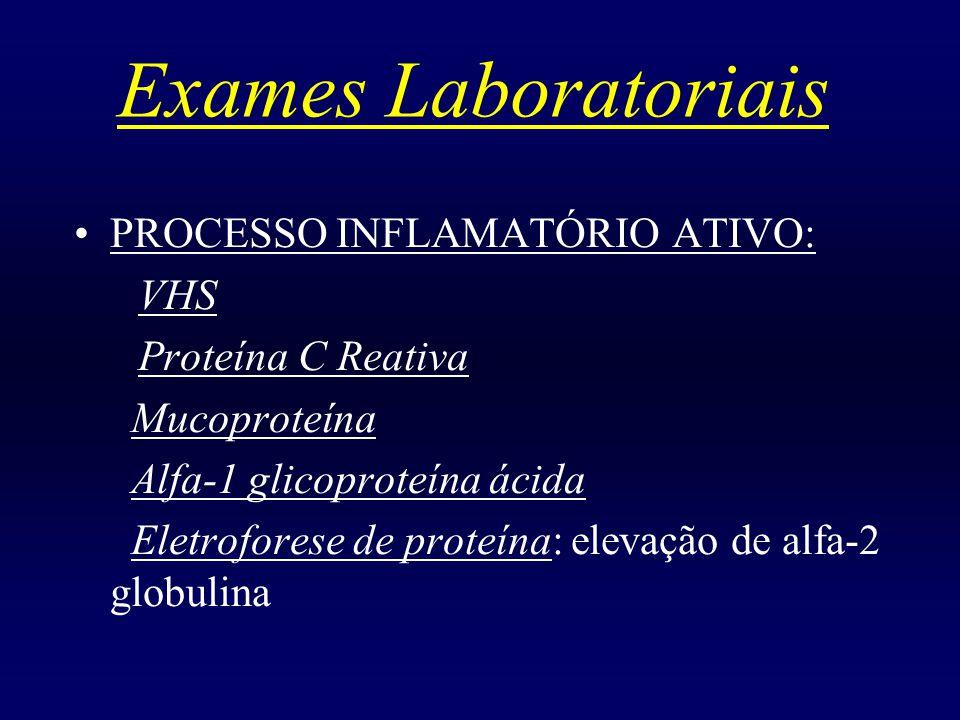 Exames Laboratoriais PROCESSO INFLAMATÓRIO ATIVO: VHS