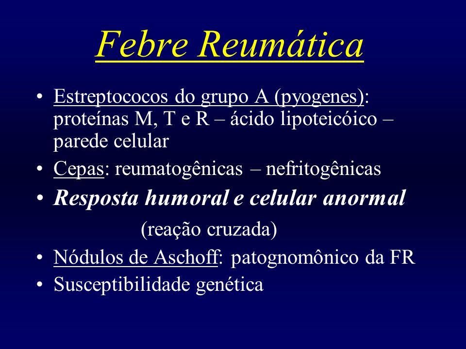 Febre Reumática Resposta humoral e celular anormal (reação cruzada)