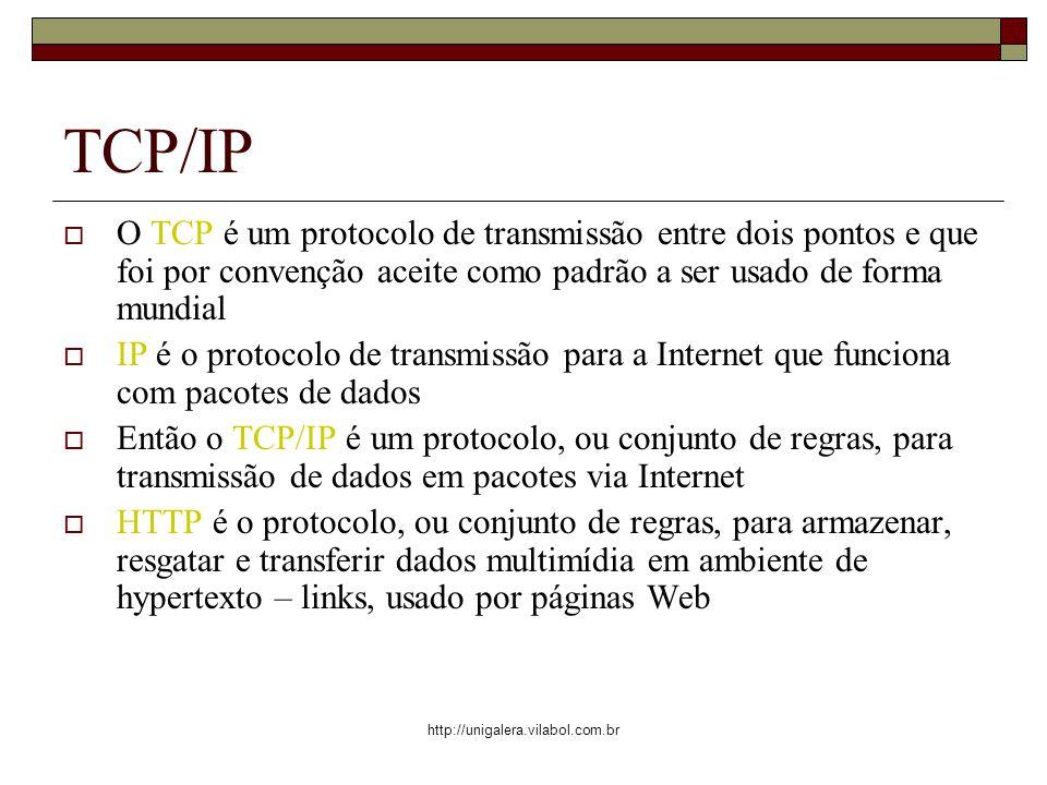 TCP/IP O TCP é um protocolo de transmissão entre dois pontos e que foi por convenção aceite como padrão a ser usado de forma mundial.