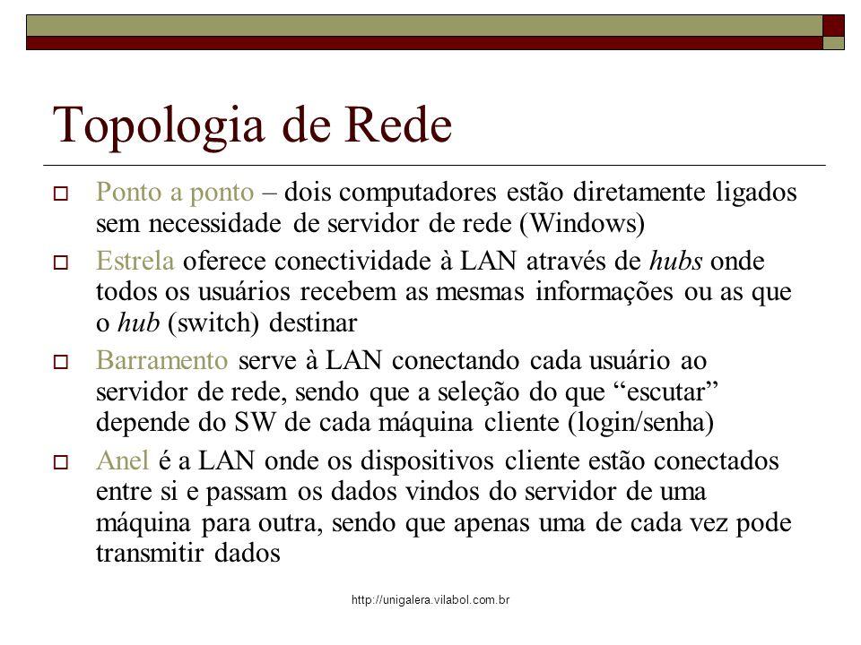 Topologia de Rede Ponto a ponto – dois computadores estão diretamente ligados sem necessidade de servidor de rede (Windows)