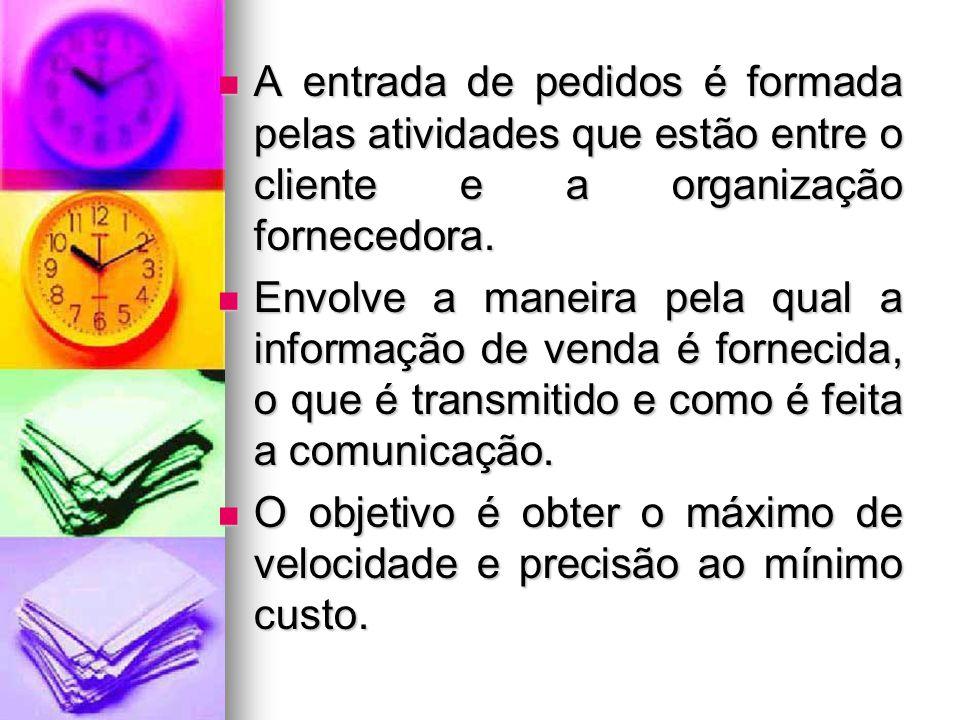 A entrada de pedidos é formada pelas atividades que estão entre o cliente e a organização fornecedora.