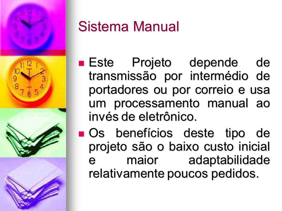 Sistema Manual Este Projeto depende de transmissão por intermédio de portadores ou por correio e usa um processamento manual ao invés de eletrônico.