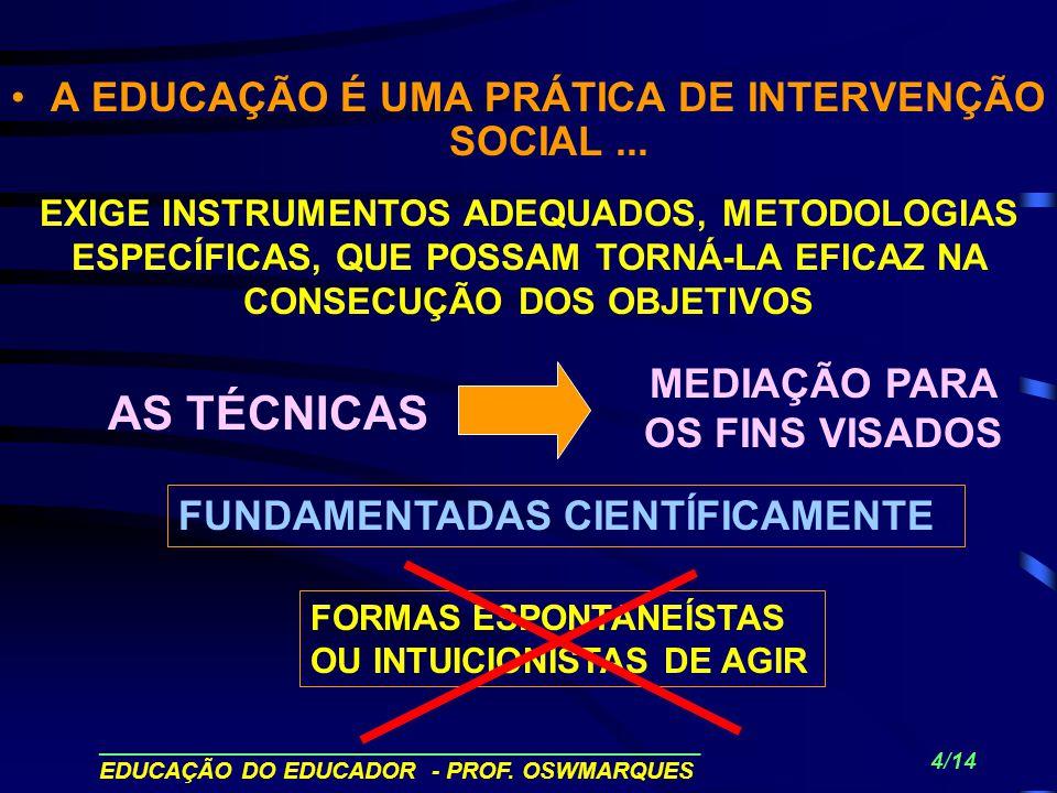 A EDUCAÇÃO É UMA PRÁTICA DE INTERVENÇÃO SOCIAL ...