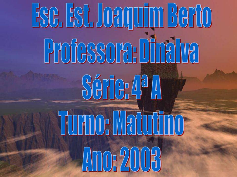 Esc. Est. Joaquim Berto Professora: Dinalva Série: 4ª A Turno: Matutino Ano: 2003