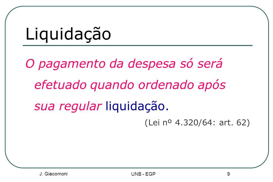 Liquidação O pagamento da despesa só será efetuado quando ordenado após sua regular liquidação. (Lei nº 4.320/64: art. 62)