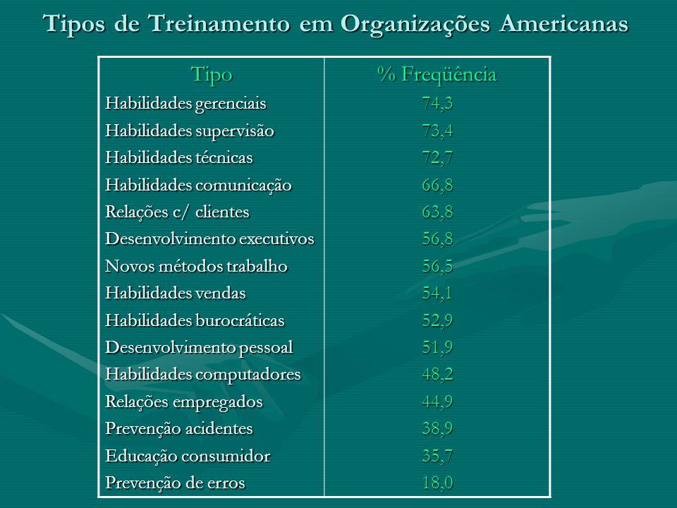Tipos de Treinamento em Organizações Americanas