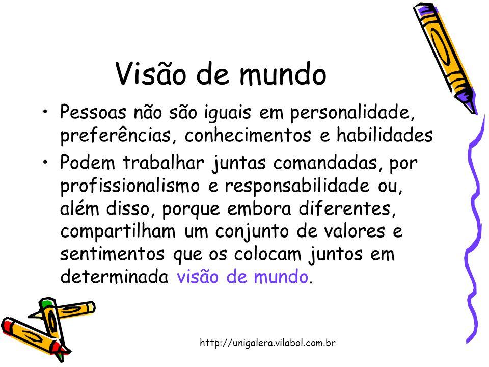 Visão de mundo Pessoas não são iguais em personalidade, preferências, conhecimentos e habilidades.