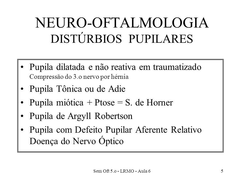 NEURO-OFTALMOLOGIA DISTÚRBIOS PUPILARES