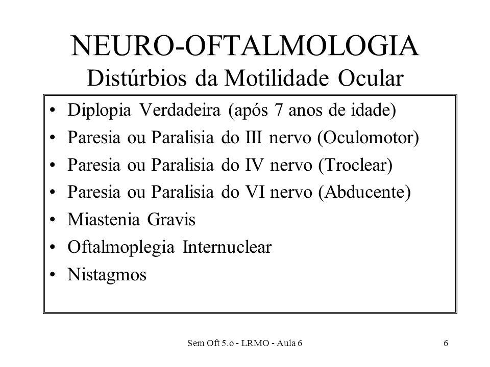 NEURO-OFTALMOLOGIA Distúrbios da Motilidade Ocular