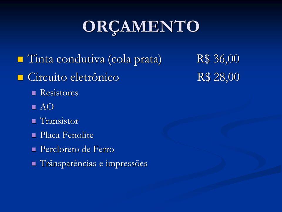 ORÇAMENTO Tinta condutiva (cola prata) R$ 36,00