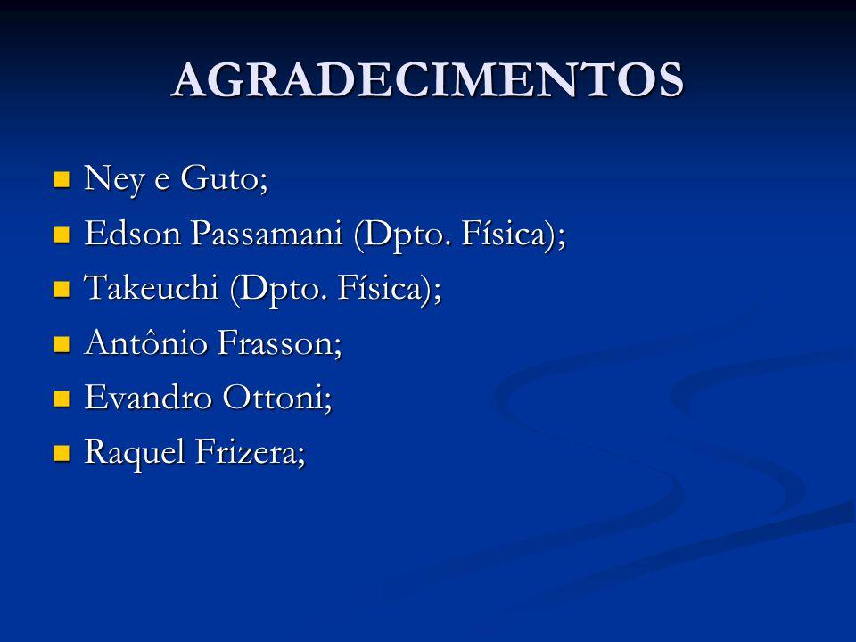 AGRADECIMENTOS Ney e Guto; Edson Passamani (Dpto. Física);